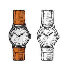 wristwatch or wristlet watch classic man with vector image