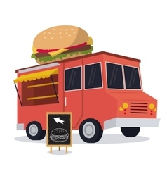 Hamburger truck fast food icon graphic vector