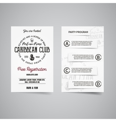 Caribbean party back and front flyer template vector