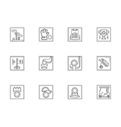 Golf equipment flat line icons set vector image