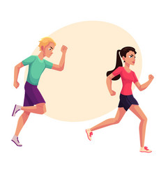 couple of runners sprinters running race vector image