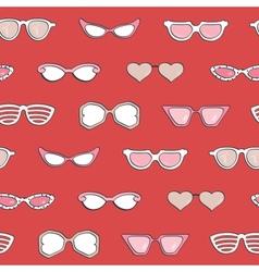 Seamless pattern Women fashion sunglasses set vector image
