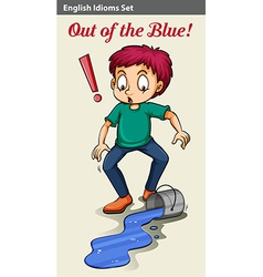 An out of the blue idiom vector