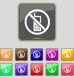 Mobile phone is prohibited icon sign set with vector