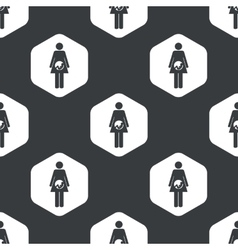 Black hexagon pregnant woman pattern vector