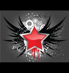 Glossy star on grunge wings vector