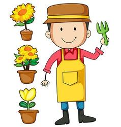 Gardener and flower pot vector image