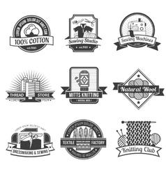 Textile emblem set vector