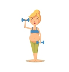 Pregnant woman training with drumbells vector