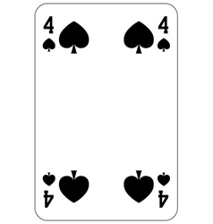 Poker playing card 4 spade vector