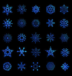 a set of snowflakes vector image vector image
