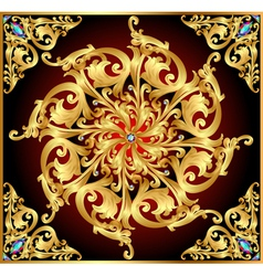 background with gold floral patterns and precious vector image