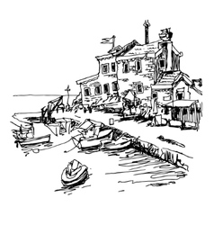 Black and white sketch drawing of historical fort vector