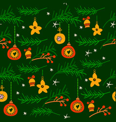 christmas seamless pattern with spruce branches vector image