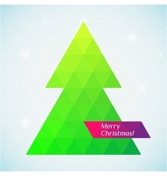 christmas tree triangle background card vector image vector image