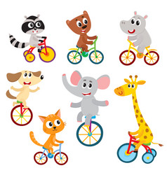 Cute little animal characters riding unicycle vector