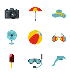 Elements of beach rest and activity icons set vector