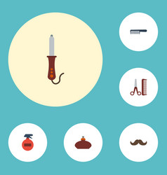 Flat icons hairdresser whiskers hairbrush and vector