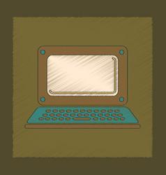 Flat shading style icon laptop vector