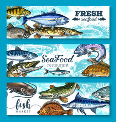 fresh seafood and fish banners set vector image vector image