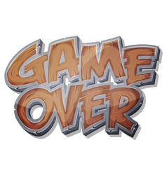 Game over wooden icon for ui game vector