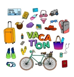 Hand drawn vacation doodle vector