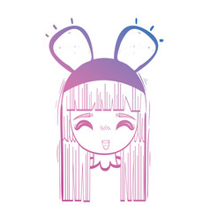 line anime girl head with custome and hairstyle vector image