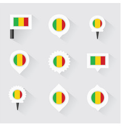 Mali flag and pins for infographic and map design vector