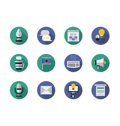 media content flat round icons set vector image vector image