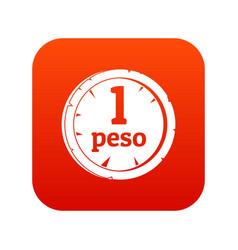 Peso icon digital red vector