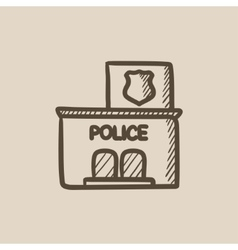 Police station sketch icon vector