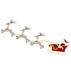 Santa with gift bag and reindeer sled christmas vector