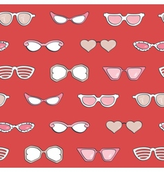 Seamless pattern Women fashion sunglasses set vector image