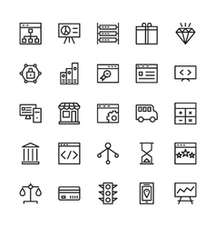 Seo and marketing outline icons 2 vector