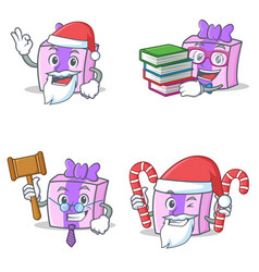 Set of gift character with santa book judge candy vector