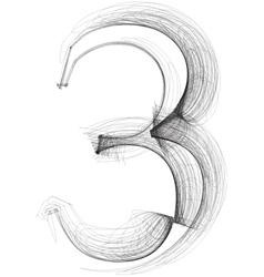 Sketch font number 3 vector