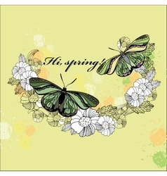 Spring card hand drawn flower wreath with vector