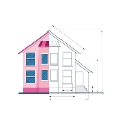 Technical drawing house circuit vector