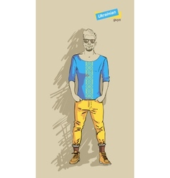 Ukrainian man in fashion vector image