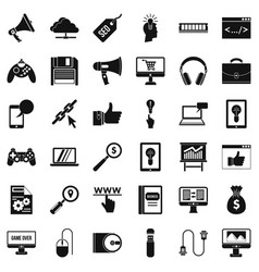 Web game icons set simple style vector
