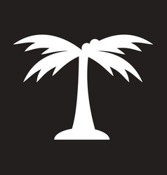 White icon on black background palm tree vector