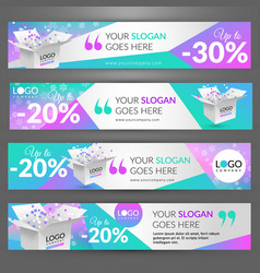 Winter sale event set with banners for website vector