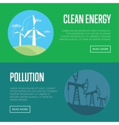 Clean energy and pollution banners vector
