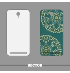 Phone With Ornament Blue Flowers vector image