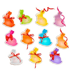 Decorative easter rabbitsEaster cards with red bow vector image