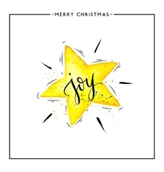 Joy text on watercolor yellow star isolated vector