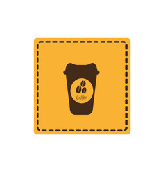 Yellow emblem coffee espresso icon vector
