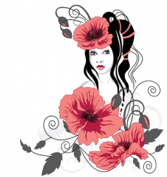 girl and red flowers vector image