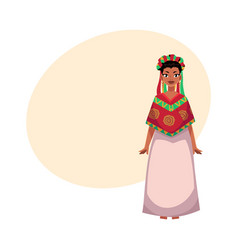 Mexican woman in national clothes serape and vector