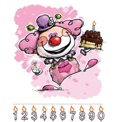 Clown carrying a girls birthday cake vector